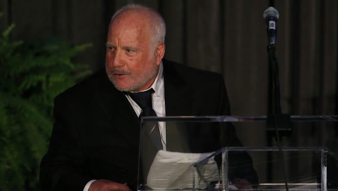 Richard Dreyfuss delivers his keynote address for the 100th Anniversary Gala of the Jewish Federation of Greater Des Moines at the Iowa Events Center Sunday, Aug. 24, 2014.