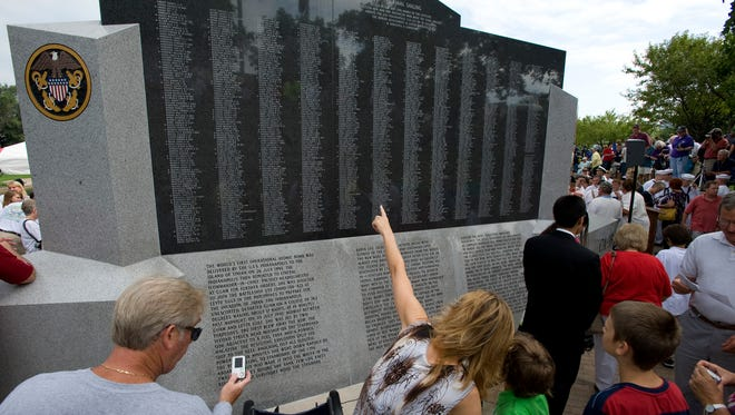 Guests observe the USS Indianapolis memorial Aug. 1, 2010, at the annual reunion of the survivors in Indianapolis.