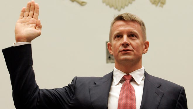 Blackwater USA founder Erik Prince is sworn in on Capitol Hill on Oct. 2, 2007, before testifying for the House Oversight Committee.