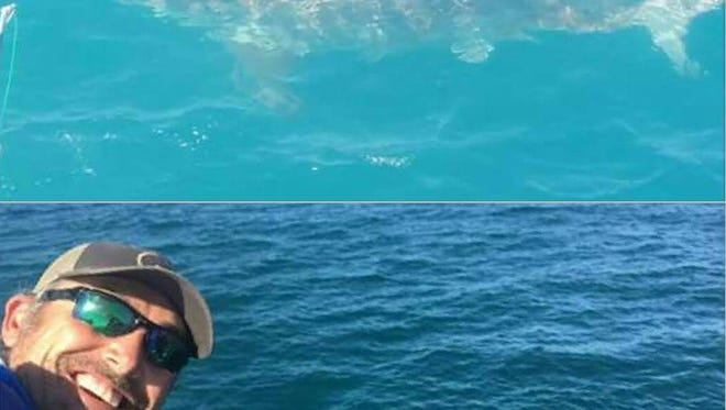 From Melbourne Beach angler J.P. Prouty's Facebook page, a selfie and a closer photo of the estimated 12-foot-long great white shark that visited anglers aboard the Canaveral Princess two years ago about 25 miles out of Port Canaveral in 100 feet of water.