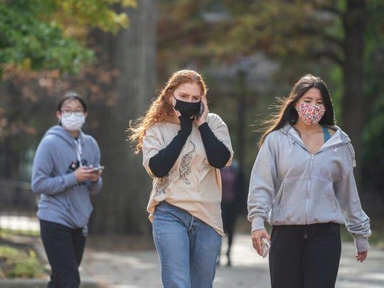 """University of Michigan students in Ann Arbor were given a """"stay in place"""" order on Oct. 20, 2020, as the number of coronavirus cases on campus spiked."""