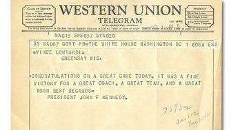 Vince Lombardi's 1961 congratulatory telegram from President John F. Kennedy.
