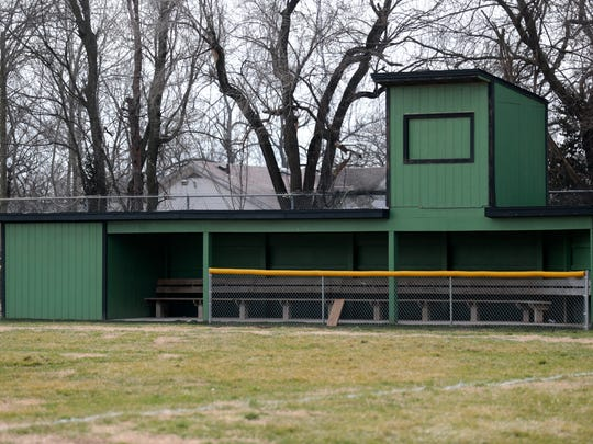 The home team dugout at the baseball field at Nichols