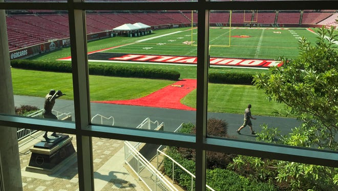 """The University of Louisville plans to expand Papa John's Cardinal Stadium to 65,000 seats which will enclose the north end zone, where landscaping and the Johnny Unitas statue reside. About 10,000 seats will be added with the expansion, including 1,000 club seats and 65 """"premium"""" loge level seats as well as 10 field level suites. The design will connect the east and west sides of the stadium. Athletic Director Tom Jurich says he plans to have the expansion completed in the next two years, though no completion date has been set. The project cost is an estimated $55 million, raised through sponsorships, private donations and ticket sales. The stadium was completed in 1998. Aug. 28, 2015"""
