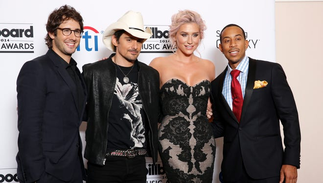 "Josh Groban (from left), Brad Paisley, Ke$ha and Ludacris will judge on ""Rising Star."""