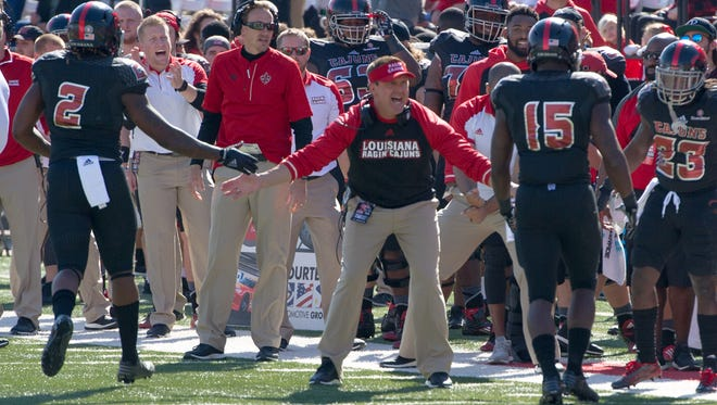 UL coach Mark Hudspeth works the sideline last Saturday in a win over Arkansas State.