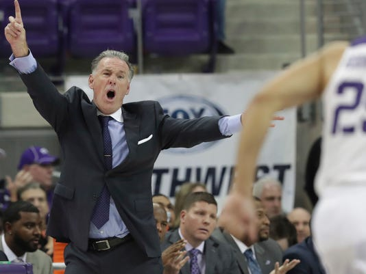 TCU head coach Jamie Dixon yells from the sideline during the second half of an NCAA college basketball game against William & Mary in Fort Worth, Texas, Friday, Dec. 22, 2017. (AP Photo/LM Otero)