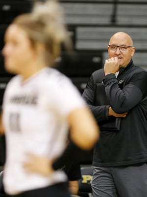 Purdue head coach Dave Shondell watches as the Boilermakers take on Oral Roberts in the second set Friday, August 25, 2017, at Holloway Gymnasium on the campus of Purdue University. Purdue defeated Oral Roberts 25-15, 25-13, 25-20.