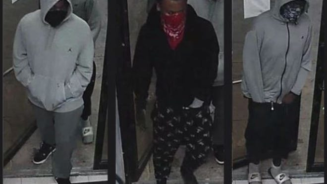 Austin police are looking for these three men, who they say shot a clerk while robbing a gas station convenience store near downtown Austin on Wednesday night.