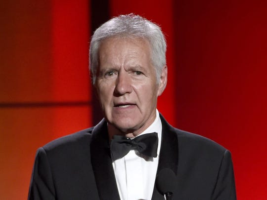 FILE - In this April 30, 2017 file photo, Alex Trebek speaks at the 44th annual Daytime Emmy Awards at the Pasadena Civic Center in Pasadena, Calif. Trebek is set to moderate a debate in this year's Pennsylvania governor's race at the Pennsylvania Chamber of Business and Industry's annual dinner in October. (Photo by Chris Pizzello/Invision/AP, File) ORG XMIT: NYET303