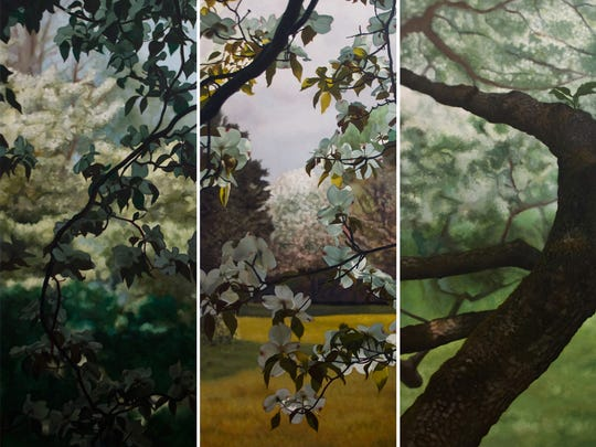 "Commissions like his ""Spring Dogwoods on Linen"" have helped Frank Lombardo thrive as an artist  living in Marshall."