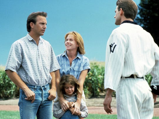 A scene from the 1989 film 'Field of Dreams.'  From left: Kevin Costner, Amy Madigan, Gaby Hoffman and Dwier Brown.