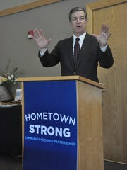 Governor Roy Cooper launched his Hometown Strong initiative April 24 inside the Madison County Public Library.