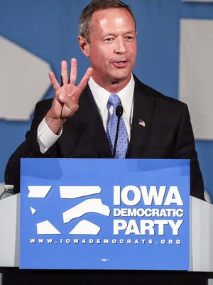 Former Maryland Gov. Martin O'Malley speaks at the Iowa Democratic Party's Hall of Fame Celebration at the Cedar Rapids Convention Center Friday, July 17, 2015.