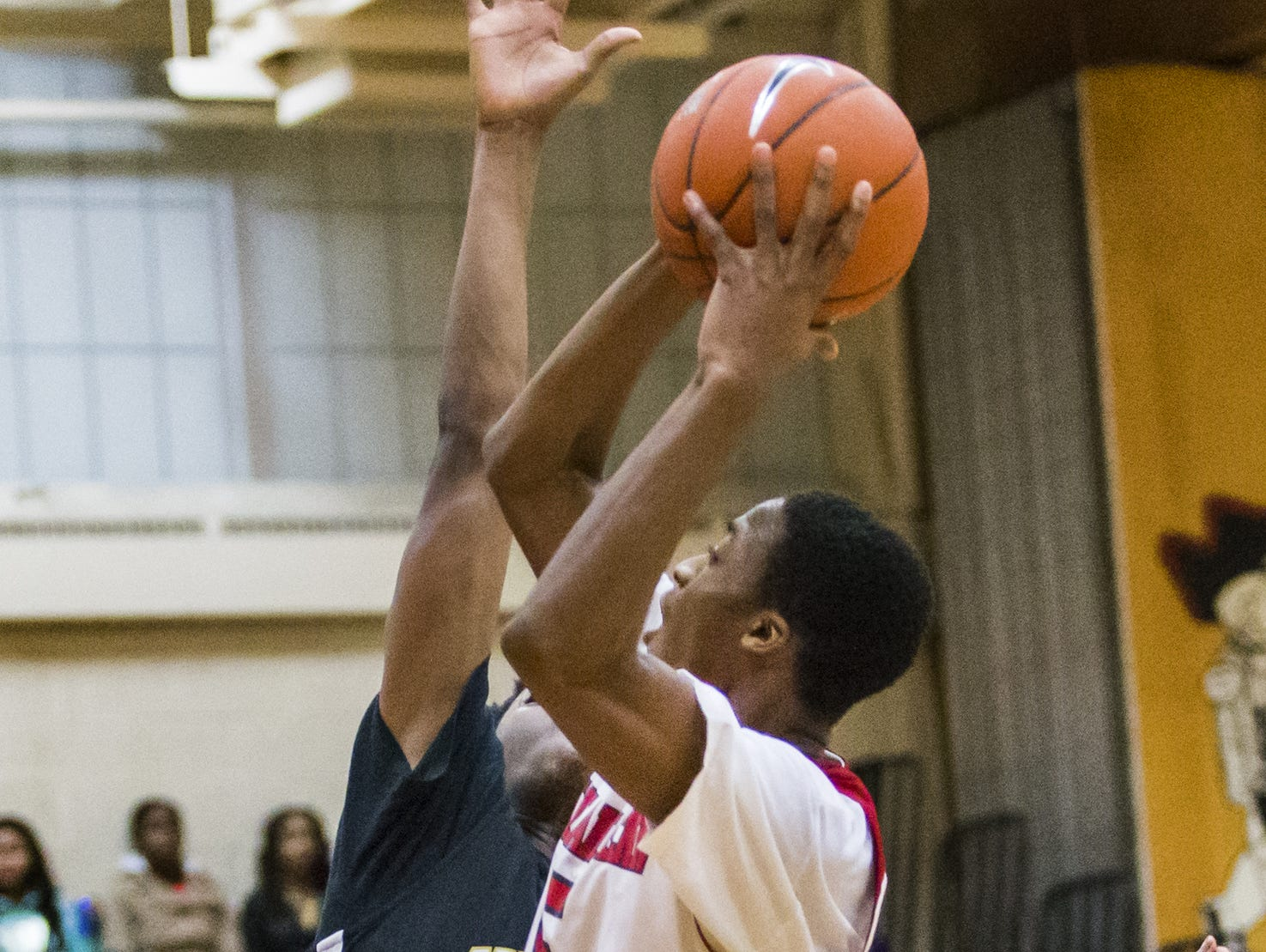 William Penn's Ny'Jere Hodges puts up a shot in the second half of William Penn's 47-28 win over Newark at William Penn High School on Thursday night.