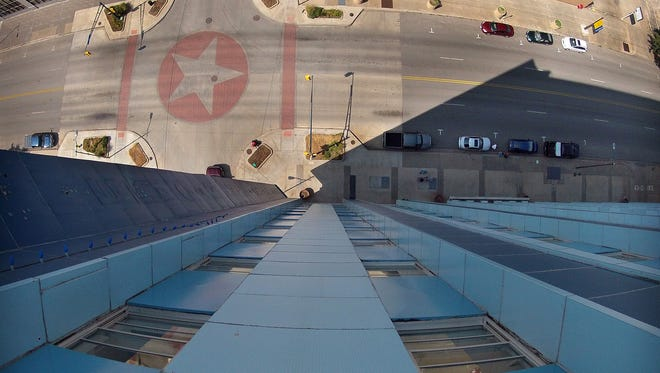 This is the view from the roof of the First Wichita Building, also known as Big Blue. Seen below is the intersection of Scott Avenue and Eighth Street.