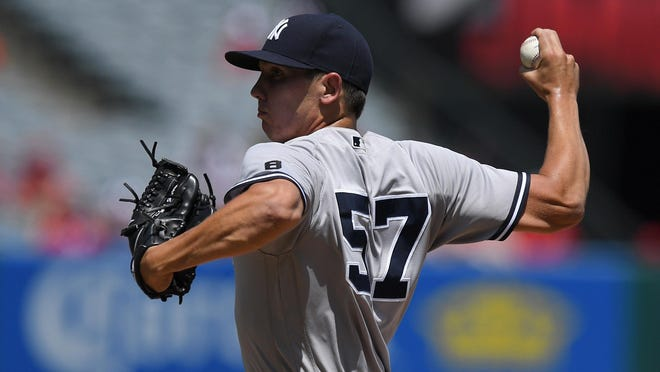 Yankees starting pitcher Chad Green allowed one run and five hits in six innings, but took the loss in Sunday's game against the Angels.