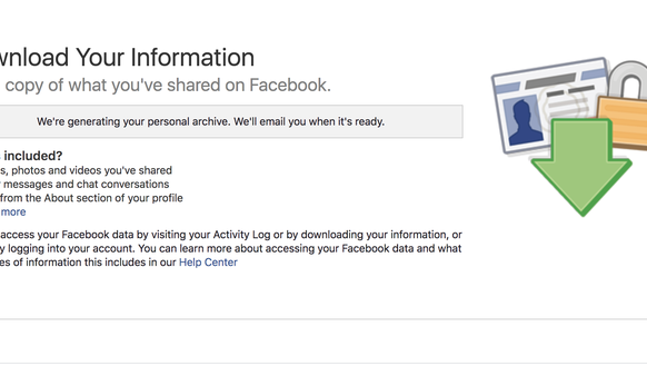 The download your information tab in Facebook