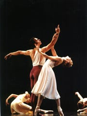 "Anthony Krutzkamp and Mishic Marie Corn perform in the 2004 revival of Léonide Massine's 1938 ""Seventh Symphony."""