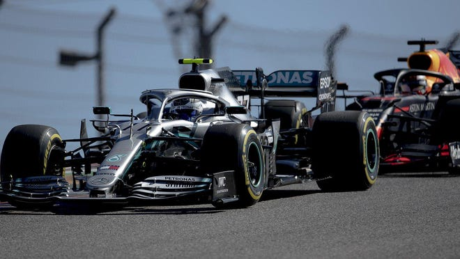 Mercedes driver Valtteri Bottas fends off Red Bull driver Max Verstappen during last year's Formula One U.S. Grand Prix at Circuit of the Americas.
