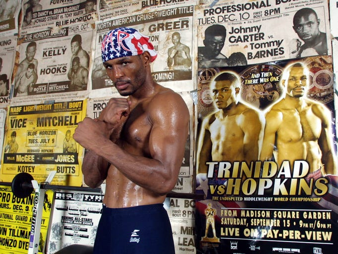Middleweight champion Bernard Hopkins at Champs Gym before his fight against Felix Trinidad at Madison Square Garden in 2001.