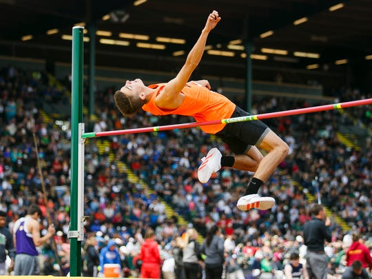 Silverton's Coleton Myers competes in the 5A high jump at the 2017 OSAA track and field state championships on Saturday, May 20, 2017, at Hayward Field in Eugene, Ore.