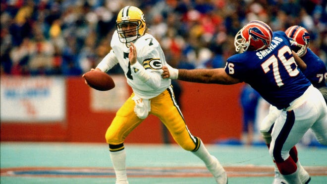 Don Majkowski tries to escape against the Bills during a rough 1991 season.