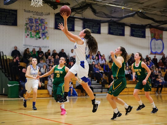 Colchester's Gabby Gosselin leaps for a layup during the girls basketball game between the BFA St. Albans earlier this season.