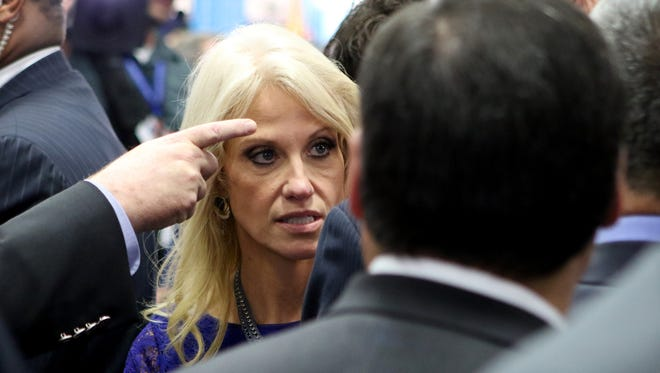 Donald Trump's campaign manager Kellyanne Conway stands in the spin room after the Presidential Debate at Hofstra University on Sept. 26, 2016 in Hempstead, N.Y.