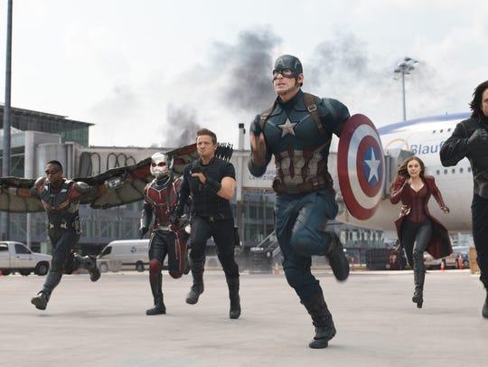 Marvel/Disney Anthony Mackie, from left,  Paul Rudd,