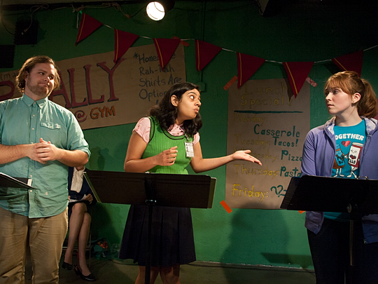 """Space 55 Ensemble's """"Night of the Chicken: The Curse of the Crusty Claw"""" stars (from left) Kendall Pack, Puneet Bajwa and Shae Benton."""