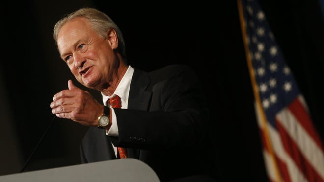 Democrat Lincoln Chafee speaks Friday during the Iowa Democratic Party Hall of Fame Celebration in Cedar Rapids.