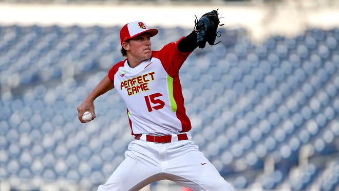 Beau Burrows, of Weatherford High School in Weatherford, Texas, during a high school all-star baseball game on Aug. 10, 2014. Burrows was selected by the Tigers at No. 22 in the MLB draft.