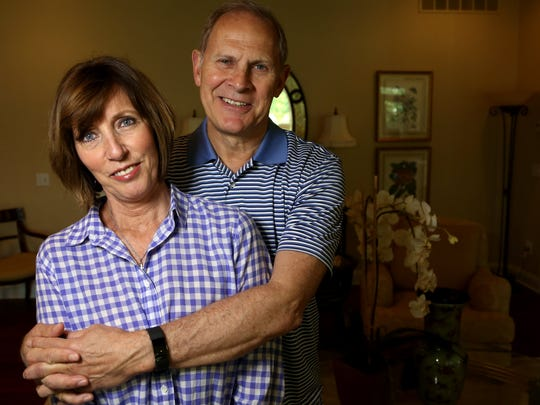 The University of Michigan head basketball coach John Beilein with Kathleen Beilein, his wife, in the living room of their home in Ann Arbor on Saturday, May 13, 2017. After the airplane incident in March when the plane that he and the Michigan basketball team were on went violently off the airport runway as they headed to the NCAA Tournament, Beilein found a new perspective on basketball, life and his place in it.