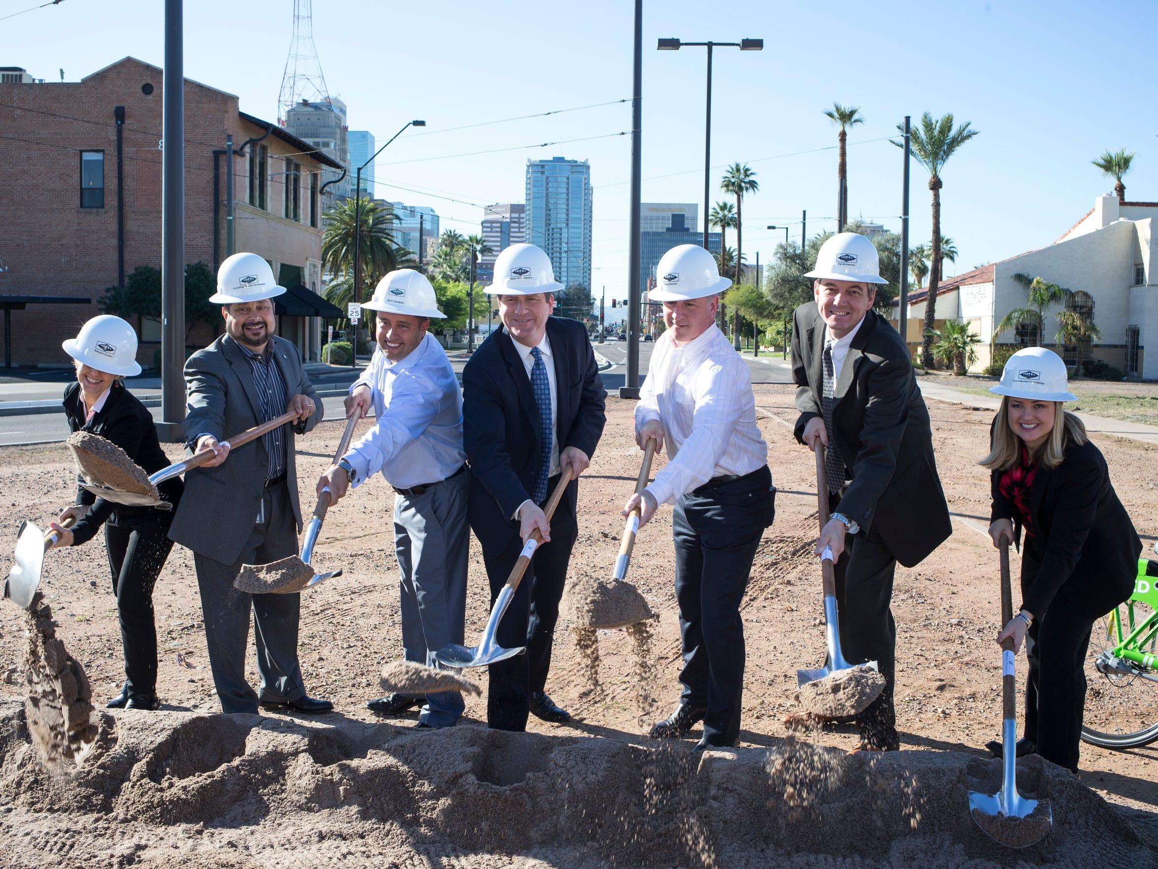 Phoenix leaders, including Mayor Greg Stanton, break