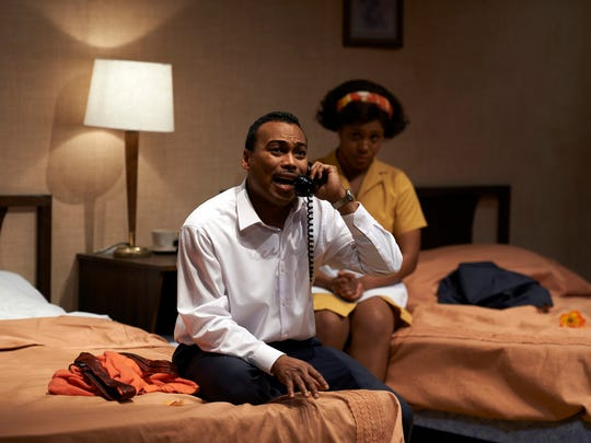 "Katori Hall's play ""The Mountaintop"" took wildly unexpected turns as it explored the final night of Dr. Martin Luther King Jr.'s life. Ensemble Theatre Cincinnati's 2014 production featured Gavin Lawrence as Dr. King and Torie Wiggins as a motel maid."