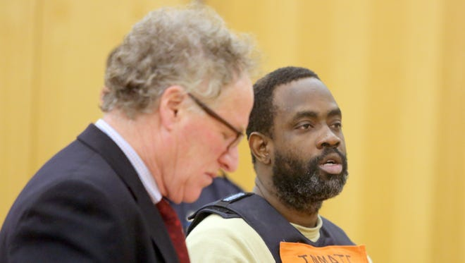 Errol Hillary listens to Judge Barry Warhit in Westchester County Court during his arraignment Feb. 16, 2017. Hillary is charged in the fatal shooting at a Mount Vernon nightclub on Christmas.