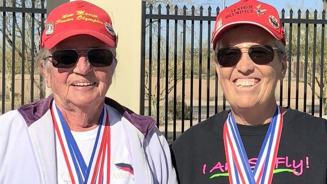 Yenny van Dinter, left, and Pamela Gulbrandson pulled in quite a medal haul to open the 2018 senior swim season.