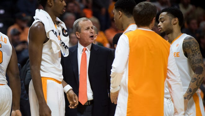 Tennessee coach Rick Barnes talks to his team during a game against Mercer on Wednesday.