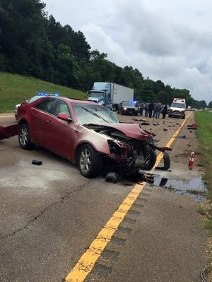 The scene of a crash in Copiah County after a high speed chase.