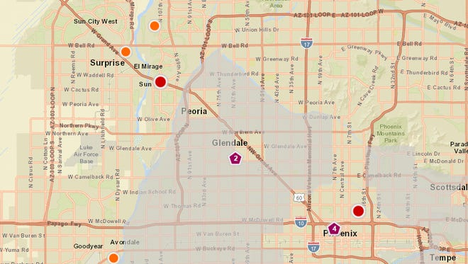 APS reported several outages around the Valley, three of which affected more than 1,000 customers.