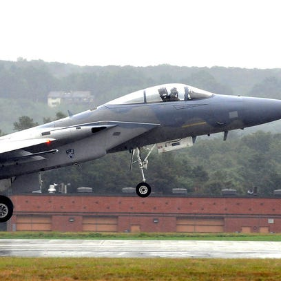An F-15 from the 104th Fighter Wing at the Barnes Air