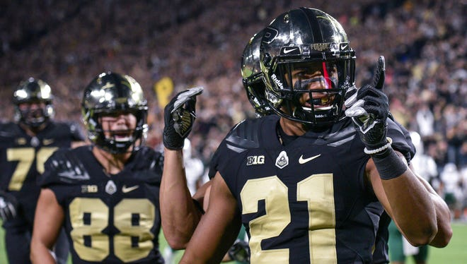 Wide receiver Anthony Mahoungou celebrates a touchdown reception. Purdue defeats Ohio in West Lafayette on Friday September 8, 2017.