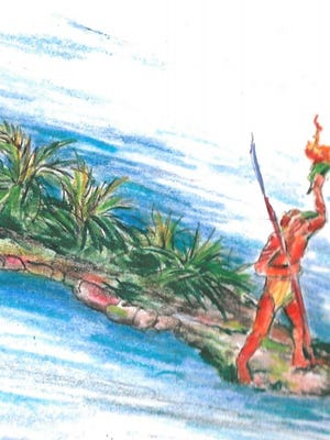 This artist's sketch depicts the Ais Indian statue at the southern tip of Dragon Point.