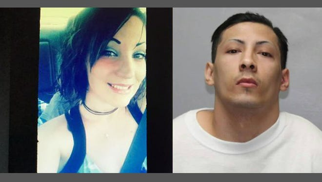 Christin Cantrell (left), identified as a victim in a double homicide and Efren Lloyd Mascarenas Jr. (right), who police named a person of interest in her death.