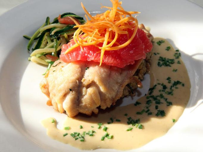The Iron Horse Grill's red snapper with grapefruit and saffron sauce photographed Feb. 10, 2012.