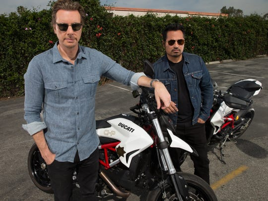 Dax Shepard and Michael Peña with their 'CHIPS' Ducatis.