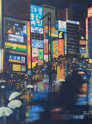 """Colorful umbrellas echo the commercial advertising in Tom Smith's """"Tokyo Rain."""""""