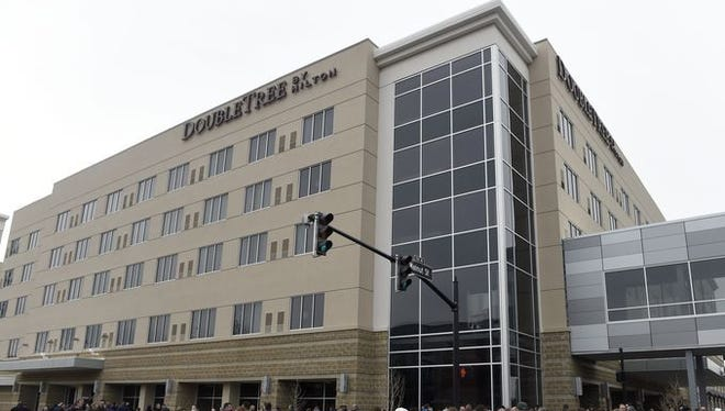 The Hilton DoubleTree convention hotel in Downtown Evansville opened in February.