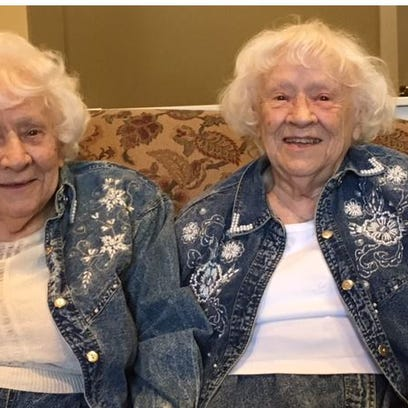 Marjorie Smotherman, at left, and her twin sister Harriett